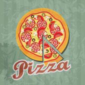 Retro pizza background. Vector illustration — Stock Vector