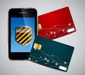Tarjeta de crédito y teléfono vector illustration — Vector de stock