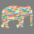 Elephant figurine, made up of words on a business topic — Stock Vector