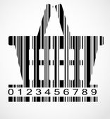 Barcode shoping cart image vector illustration — Stock Vector