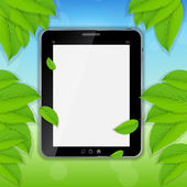 Tablet icon vector illustration on nature background — Stock Vector