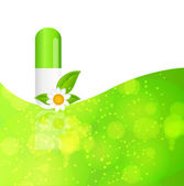 Herbal pill icon.Environment background vector illustration — Stock Vector