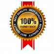 Vector 100 percent money back gold sign, label template — Stockvector  #26394699