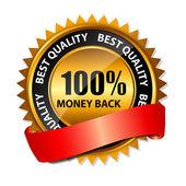 100% dinheiro de volta ouro sinal, modelo de rótulo vector — Vetorial Stock