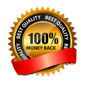 Vector 100 percent money back gold sign, label template — Vetorial Stock