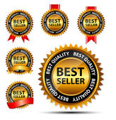 вектор лучший продавец золотой знак, шаблон метки — Cтоковый вектор