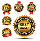 Vektor bästa säljaren guld tecken, etikettmall — Stockvektor