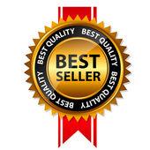 Vector meilleur signe de vendeur or, modèle d'étiquette — Vecteur