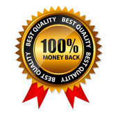 Vector 100 percent money back gold sign, label template — Stock Vector