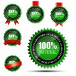 100 percent natural green label isolated on white.vector illustration — Stock Vector