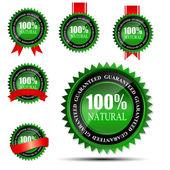Yüzde 100 doğal yeşil etiket üzerinde white.vector illüstrasyon izole — Stok Vektör