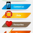 图库矢量图片: Set of Buttons with icons vector illustration