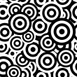 Black and white hypnotic seamless pattern background. Vector ill — Imagens vectoriais em stock
