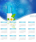 2014 new year calendar in medical style vector illustration — Stock Vector