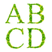 Vecteur des lettres de l'alphabet de printemps vert feuilles. — Vecteur