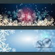 Set of cards with Christmas  balls, stars and snowflakes — Stockvektor