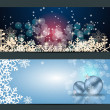 Set of cards with Christmas  balls, stars and snowflakes — Stock Vector