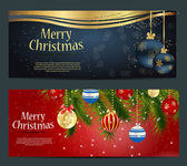 Set of cards with Christmas balls, stars and snowflakes — ストックベクタ