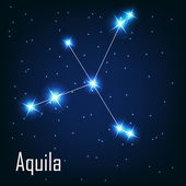 "The constellation ""Aquila"" star in the night sky. — Stock Vector"