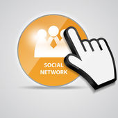 Brillo brillante icono social red con cursor de la mano del ratón — Vector de stock