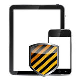Abstract design realistic mobile phone and tablet with protecti — Stockvector