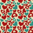 Stock Vector: Valentine seamless hearts pattern