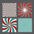 Retro vintage hypnotic background set. vector illustration — Stock vektor