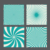 Retro vintage hypnotic background set. vector illustration — Stock Vector