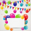 Stock Vector: Color glossy balloons birthday card background vector illustrat
