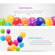 Color glossy balloons card background vector illustration — 图库矢量图片