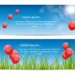 Color glossy balloons card background vector illustration — Imagens vectoriais em stock