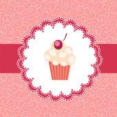 Cupcake πρόσκληση φόντο — Διανυσματικό Αρχείο