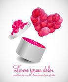 Cartão de dia dos namorados com caixa de presente e balões em forma de coração, vec — Vetor de Stock