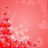Valentines Day Card with Heart Shaped Balloons, Vector Illustrat — Stockvector