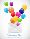 Envelope with Balloons Vector Illustration — Stock Vector