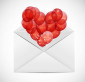 Valentines Day Card with Heart Shaped Balloons, Vector Illustrat — Vettoriale Stock