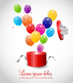 Balloons in Gift Box Background — Stock Vector