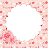 Cute Frame with Rose Flowers Vector Illustration — Stock Vector