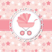 Vector Illustration of Pink Baby Carriage for Newborn Girl — Stock Vector
