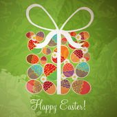 Easter card template - gift box from eggs — Stock Vector