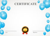 Certificate with balloons template — Stock Vector