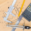Mechanical circuit, a ruler, compass — Stock Photo