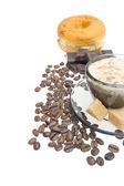 Cappuccino, brown sugar and coffee — Foto de Stock