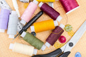 Still life various sewing accessories — Foto Stock