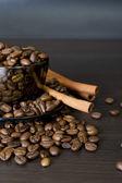 Coffee beans, cup, Pots, cinnamon — Stock Photo