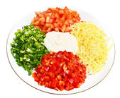 A salad of tomatoes, peppers, cheese — Stock Photo