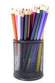 Kredki w posiadacze pencil — Zdjęcie stockowe