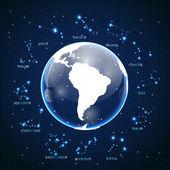 Vecteur des signes du zodiaque sur fond de ciel cosmique — Vecteur