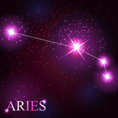 Aries zodiac sign of the beautiful bright stars — Stock Vector