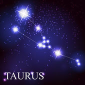 Taurus zodiac sign of the beautiful bright stars — Stock Vector